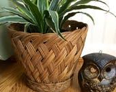 Vintage Large Woven Planter, Wicker Flower Basket, Woven Flower Pot, Plant Basket, Boho Decor