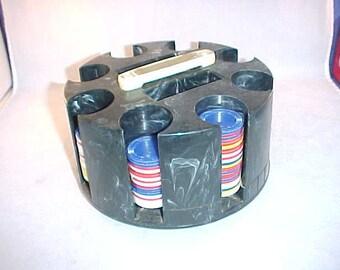Plastic Poker Chip Carousel Holder With Poker Chips