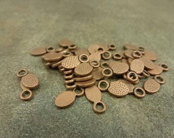 50pc. Oval Drop 11x5.5mm Antiqued Copper Tone Alloy Metal Charm