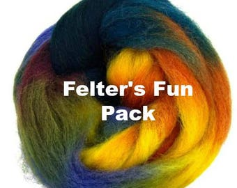 """Space Dyed Wool for Spinning or Felting """"Felter's Fun Pack"""" 60 Grams"""