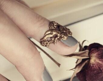 Brass Rococo Midi Ring - Romantic Nail Jewelry - Fantasy Winter Wedding - Fashion - February - Cupid - Love - Valentines Day - Mardi Gras