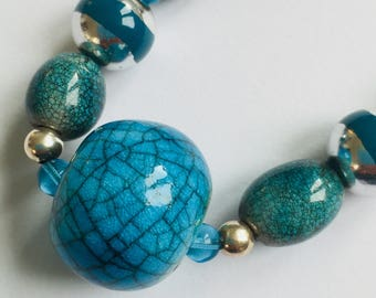 Turquoise Ceramic Bead Necklace -Handmade in Cornwall- Handmade beaded necklace