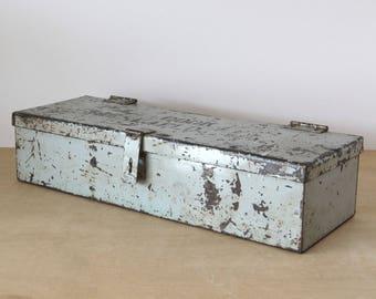 Vintage Heavy Duty Gray Metal Tool Box Rustic