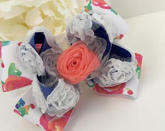 Floral Bow, Layered Bow, Flower Bow