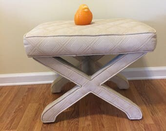 X BENCH UPHOLSTERED, Vintage 1980's X Bench, End of Bed Bench, X Stool, Modern, Contemporary, Regency at Modern Logic