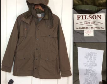 Filson light weight cotton hunting jacket coat parka size Large olive green brown corduroy collar and lined cuffs hood made in USA