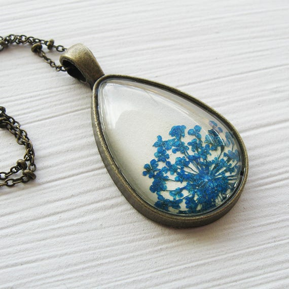 Real Pressed Flower Necklace - Blue and Antique Brass Queen Anne's Lace Botanical Teardrop Necklace