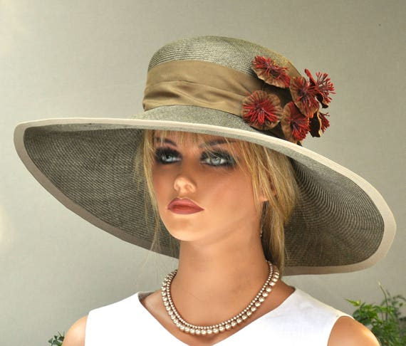 Wide Brim Wedding Hat, Brown Taupe Hat Mother of Bride Hat Kentucky Derby Hat, Couture Millinery Ascot Hat Formal Hat Dressy Hat Church Hat