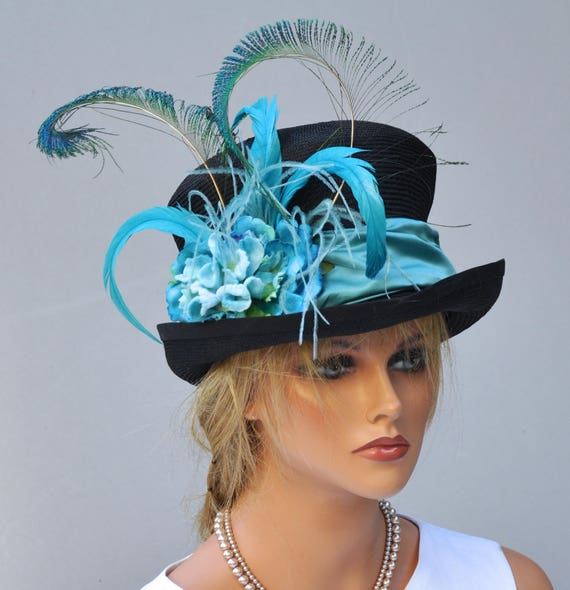 Kentucky Derby Hat, Fancy Top Hat, Formal Hat, Peacock Blue Hat, Ascot Hat Dressy Hat Feather top hat Victorian riding hat special event hat
