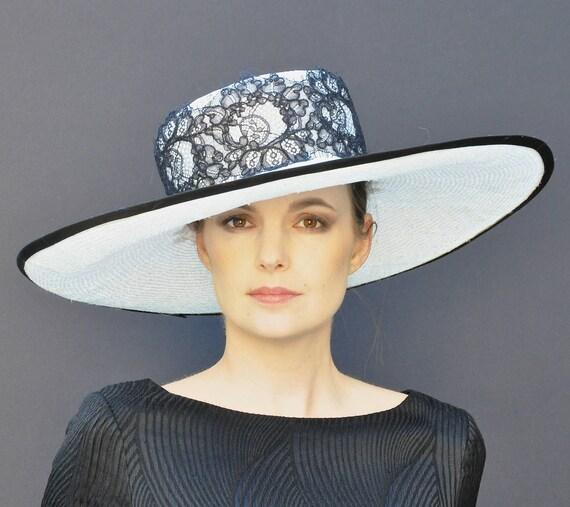 Kentucky Derby hat, Wedding Hat, Derby hat, Formal hat, Wide Brim Hat, Ascot Hat, Church Hat, Black and White hat
