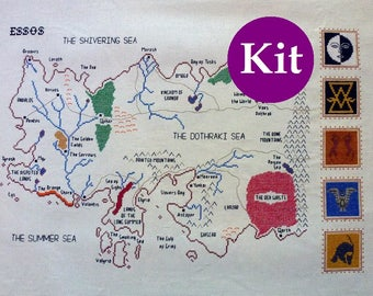 Game of Thrones Map of Essos cross stitch kit with pattern, thread and fabric