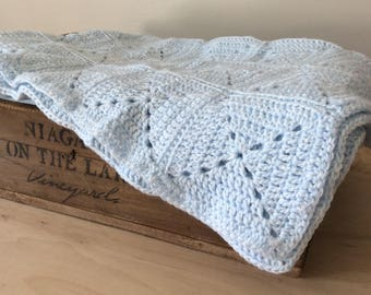 Blue Crochet Baby Blanket Granny Square Crib Blanket Stroller Blanket Knitted Gender Neutral Boy Baby Gift by Warm and Woolly on Etsy