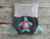 Upcycled  Wool Soaker Cover Diaper Cover With Added Doubler Gray/ Sea Green With Sea Turtle Applique SMALL 3-6M