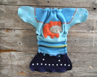 Upcycled Wool Nappy Cover Diaper Wrap Cloth Diaper Cover One Size Fits Most Turquoise/ Blue With Hippo Applique/ Navy Blue/Brown