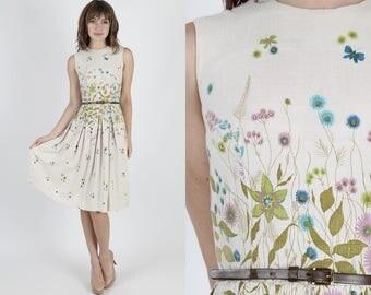 50s Dress Party Dress Garden Dress Pin Up Dress Sun Dress 1950s Dress Vintage Dress Floral Dress Ivory Full Skirt Wedding Day Midi Mini