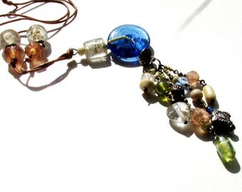 Vintage beaded tassel fringe pendant necklace AS IS leather strap mixed beads