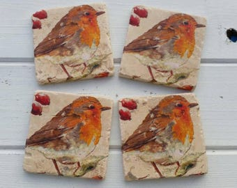Rustic Robin Stone Coaster Set of 4 Tea Coffee Beer Coasters