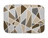 Minimalist bath mat, geometric, gray and brown bathroom decor, washable bath mat, non skid back