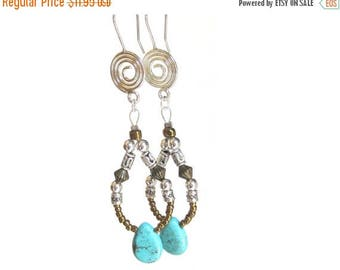 40% Off CLEARANCE Genuine Turquoise Earrings, Statement Earrings, Silver Spiral Wires