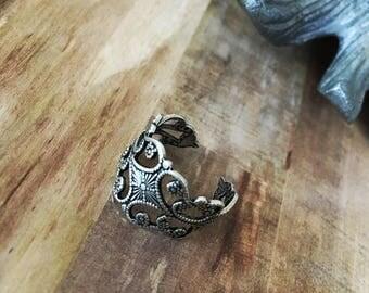 Antique Sterling Silver Brass Art Nouveau Cuff Ring