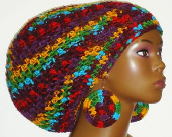 Fiesta Crochet Large Tam Hat with Drawstring and Earrings Dreadlocks Rasta Tam by Razonda Lee Razondalee