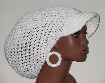 White Large Brimmed Cap Hat with Drawstring and Earrings Dreadlocks by Razonda Lee Razondalee