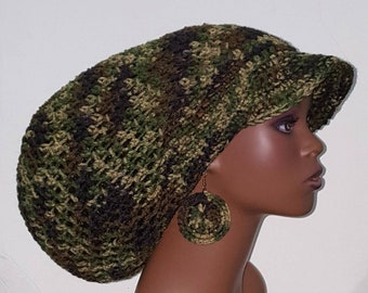 Camouflage Large Brimmed Cap Hat with Drawstring and Earrings Dreadlocks by Razonda Lee Razondalee