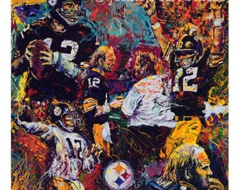 Terry Bradshaw, Football wall art, Pittsburgh Steelers painting, Football Print ,by Johno Prascak