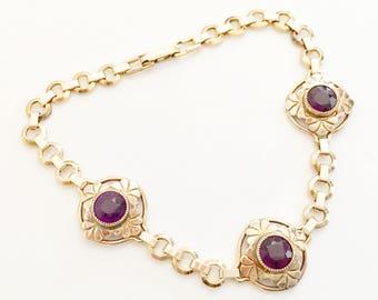 Art Deco Jewelry, Vintage Jewelry, Gold Filled Art Deco Bracelet, Purple Rhinestone Bracelet, Simmons Bracelet Simmons Jewelry Gift for Her