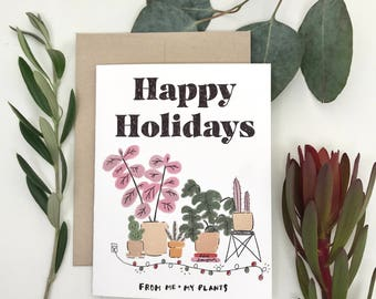 Happy Holidays From Me and My Plants | Holiday Card Box Set, Holiday Greeting Card Set, Holiday Cards , Plant Lady Card, Christmas Card Set
