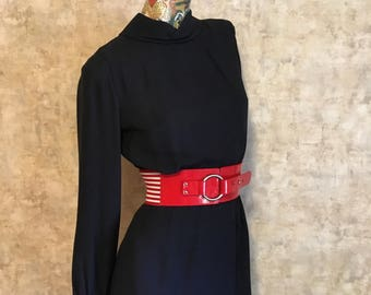 Vintage 60s Secretary Wiggle Dress Black Crepe Dress  small