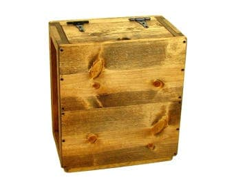 Tall Wooden Box with Hinged Lid, Wood Crate Tall, Sofa or Chair Side Storage Box, Magazine Caddy, Remote Caddy, Storage & Organization Bin