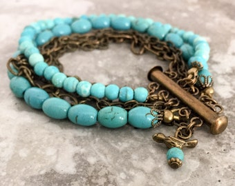 Faux Turquoise Stone and Chain Bracelet, Multi Strand