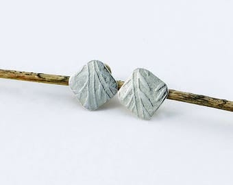 "Handcrafted Sterling Silver Square Post/Stud Earrings ""Indian Feather"" Texture Minimalist Contemporary Artisan Jewelry Design 4218654532017"
