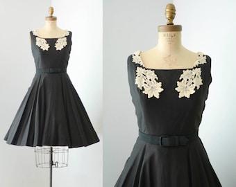 Vintage 1950s Fit & Flare Black Cotton Dress