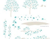 The Pretty Heart Tree - Digital Clip Art - Instant Download - Turquoise + Beige - Trees, Branches, Vines, and Birds