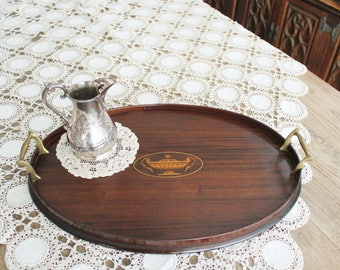 Antique Oval Mahogany Wood Tray with Inlay and Brass Handles