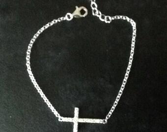 Sterling silver sideways cross bracelet, CZ sterling silver cross bracelet