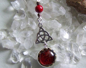 Red Dichroic Glass Silver Celtic Triquetra Pendant
