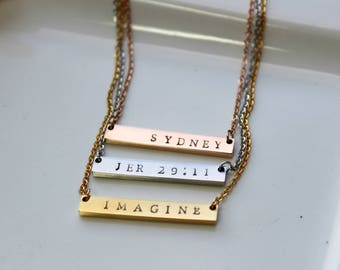 Personalized Necklace - Bar Necklace - Personalized Gift For Her - Gift For Mom - Initial Name - Rose Gold Necklace - Initial Bar Necklace