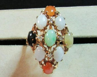 On Sale Vintage Estate 14K Translucent Multi Color Jade Cabochon Ring