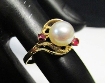 On Sale Vintage Estate Beautiful 14K Gold High Luster Pink Pearl Ruby Accent Ring