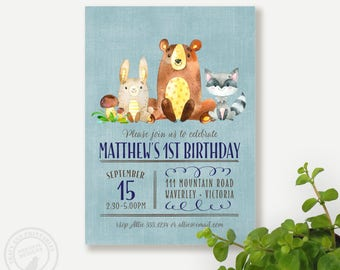 Woodland First Birthday Invitation | Bear Birthday Woodland Party | Boy or Girl Birthday Invitation | Animal Party Printable DIY | 1492