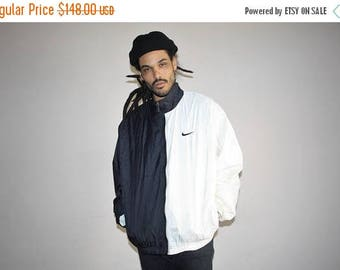On SALE 35% Off - 90s Vintage Nike Minimalist White Hip Hop Windbreaker Jacket - 1990s Nike - 90s Clothing - MV0142