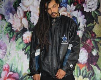VTG 1990s NFL Football Full Leather Dallas Cowboys Starter Brand Bomber Jacket 90s  -  Leather Jackets - Vintage Cowboys  - MV0573