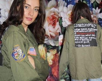 Dr. Benway Naked Lunch Burroughs Vintage 90s U.S. Army Grunge Military Shirt Jacket Patches American Flag - 1990s VTG Army Jackets - WV0603
