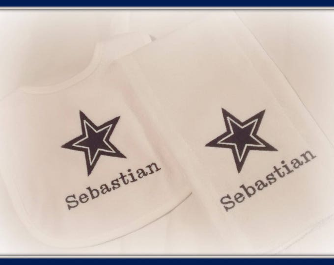 Cowboys personalized bib and burp cloth set