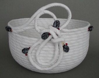 Whtie Swirl Basket, coiled fabric basket, clothesline basket