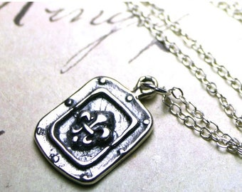 ON SALE The Gothic Fleur-de-Lis Medallion Pendant - Vintage Euro-Style Solid Sterling Silver Necklace
