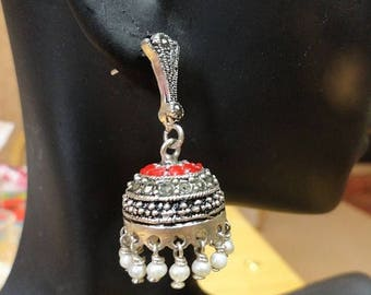 ON SALE Jaipur Jhumkas - Red Enameled Marcasite Jhumkas -J81